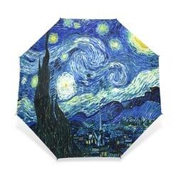 Creative Painting Starry Night Umbrella Van Gogh Oil Painting Three-Folding Sunny Rainy Umbrella Anti-UV Umbrella For Girl
