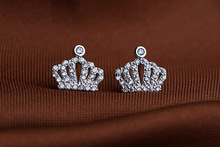 2017 new 925 silver Earrings Female Crystal from Swarovski woman Star crown earrings Twins micro set hot Fashion jewelry