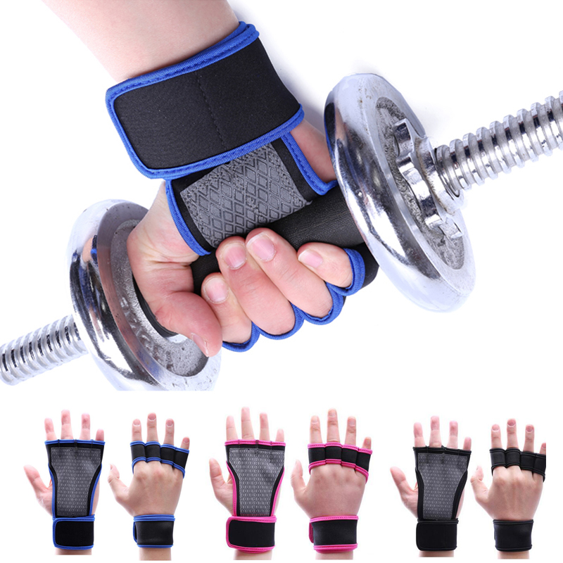 WeightLifting Wrist Support Gym Fitness Hand Straps Half Finger Palm Wrist Protector Dumbbells Horizontal Bar Sports Gloves L365 practical wrist strap fitness gym fitness strap hand peace fingers palm wrist protector dumbbells horizontal bar sports gloves