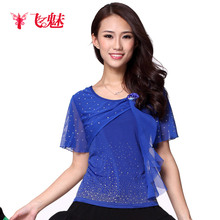 Womens Latin dance clothing New Lace Two Flower top Square Dance clothes Crystal cotton Short Sleeves Round neck top for sale