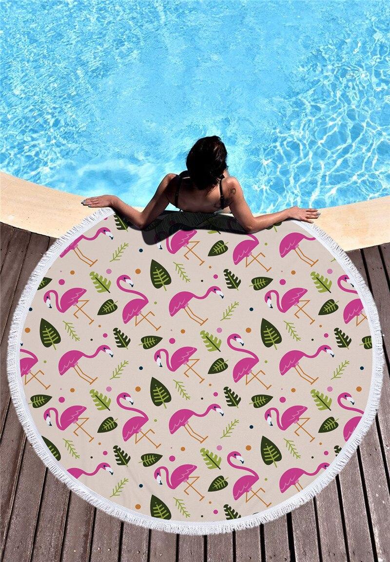 HTB1PEGtSXXXXXbiXpXXq6xXFXXX0 - Round Style Microfiber Beach Towel - Flamingo With Tassels Design