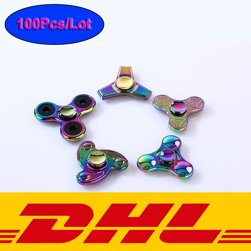 100Pcs Lot Colorful Hand Spinner Fidget Toys Metal Tri spinner edc fidget spinner metal bearing finger