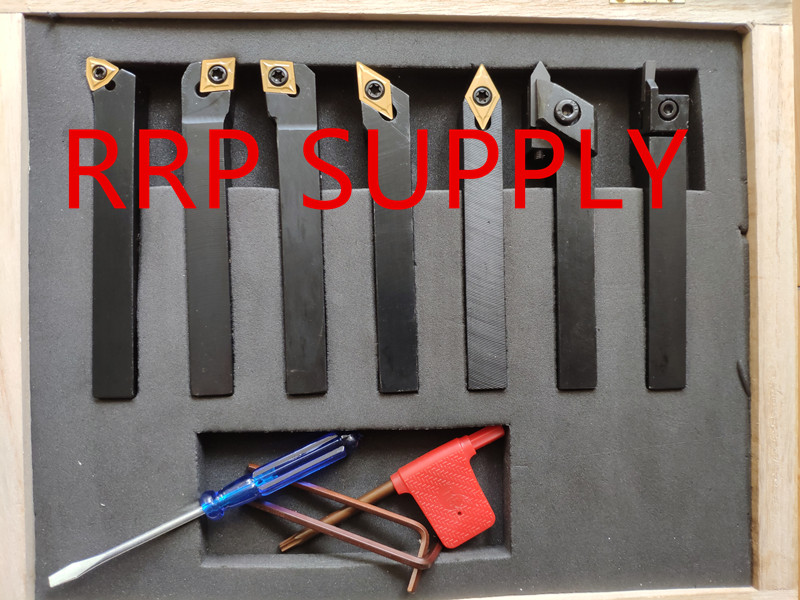 New 12mm 7pcs set indexable carbide turning tool set with insert for CNC machine best quality