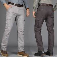 Men S Cargo Pants Overalls Multi Pockets Quality 2017 Autumn Winter Casual Trousers Chinos Army Green