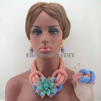 New Rosa/See Blaue Blume Nigerianischen Hochzeit Kristall perlen Schmuck Set Mix Afrikanische Perlen Schmuck Set Freies Verschiffen W13263