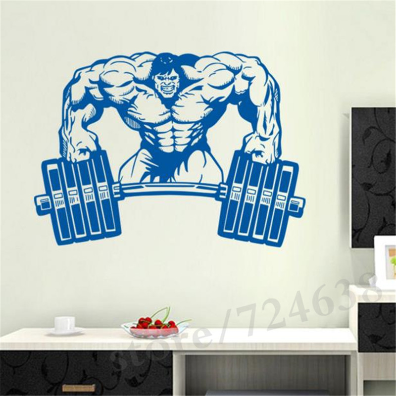 Gym Wall Sticker Fitness Crossfit Barbell Muscle Decal Body Building Posters Decals Parede Decor In Stickers From Home Garden On