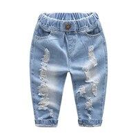 Infant Jungen Löcher Jeans Vintage Alle Resason Kinder Jeans Flut Persönlichkeit Baumwolle Mitte Elastische Taille Kinder Cowboy Hosen