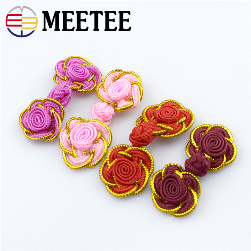 10pcs Buttons High end Gold Dress Coat Buttons Handmade Folk Style Costume Accessories Button Chinese Knot Flower B5 7 in Buttons from Home Garden
