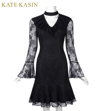 Kate Kasin Sexy Black Summer Dress 2017 Women Hollow Out Long Sleeve Floral Lace Robe V-neck Trumpet Vestido Mini Gothic Dresses