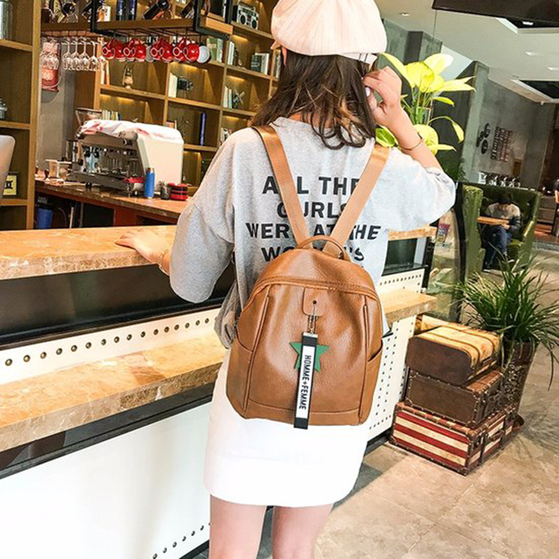 Fashion Korean version with stars letters decorated women backpack high quailty PU leather school bags for teenage girl&female