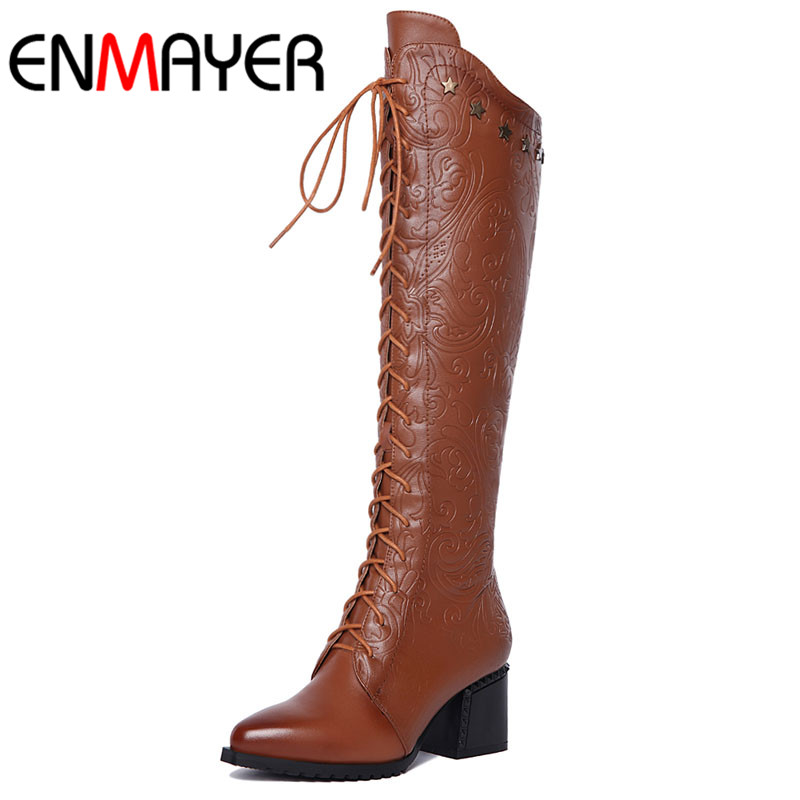 ФОТО Rivets Warm Large Size34 42 New Fashion Boots Square Heels Women Knee High Boots Sexy Pointed Toe Fur Winter Boots Ladies Shoes