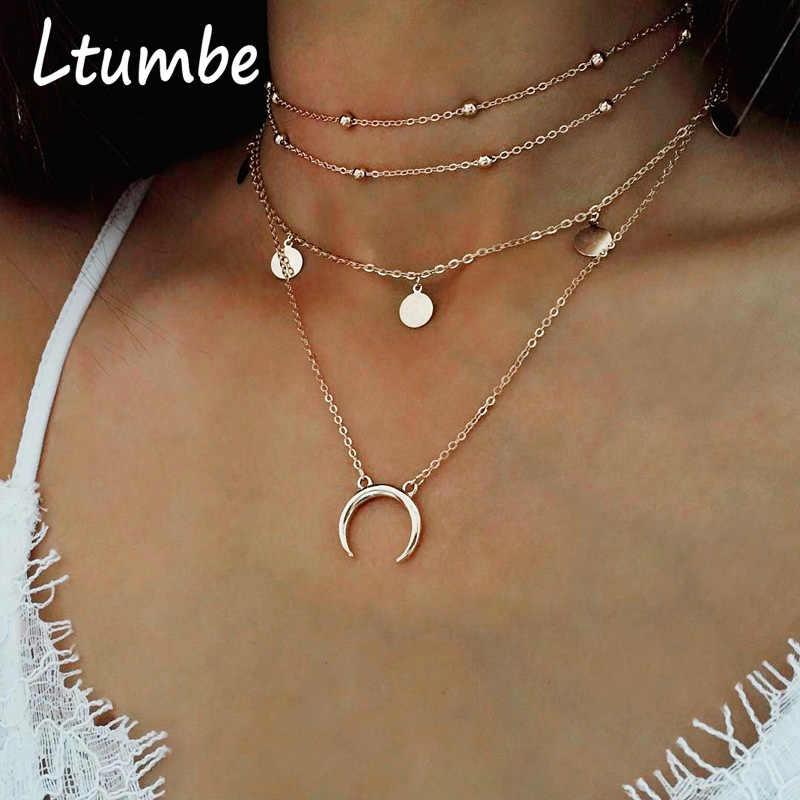 Ltumbe Multi couche déclaration colliers offre spéciale étoile lune oiseau clavicule paillettes chaîne colliers pendentifs pour femmes charme bijoux