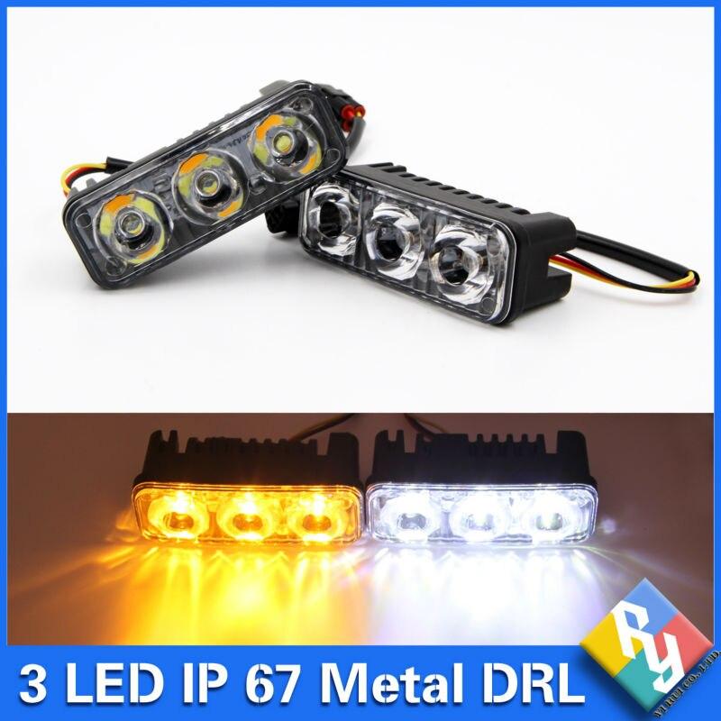 Высокая мощность 2шт/набор 6 светодиодов 9 Вт сигнала поворота автомобиля света Водонепроницаемый Алюминиевый DRL фары дневного света с 12В линзы ксенон Ау