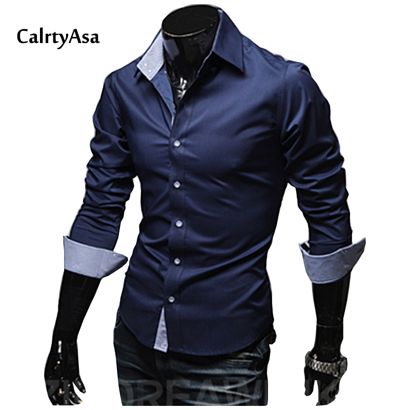 2018 Fashion Unique Button Solid Dress Mens Shirts Asian Size 3XL Long Sleeve Casual slim Fit Social Shirts Male Camisa Hombre