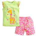 Brand Summer Girls Clothing Set Cartoon Giraffe T-shirt + Sandy Beach Shorts Girls Sports Suit 1-6 Years Kids Baby Girls Clothes