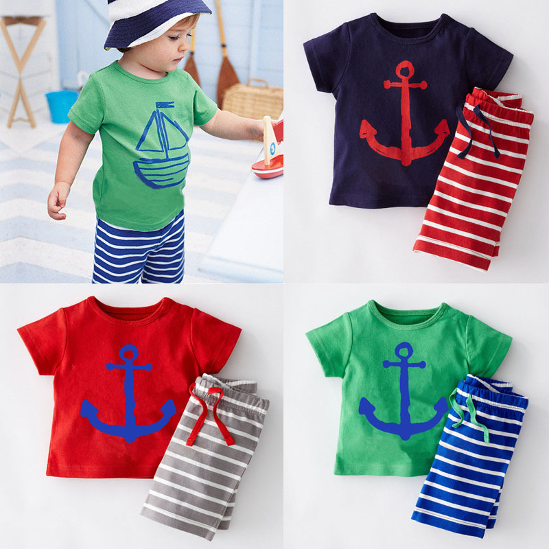 Summer Fashion Kids Boys Clothes Short Sleeves T-shirt+Shorts 2pcs suits Baby Costume Tracksuit Toddler Boy Clothing 2-7T BC1093