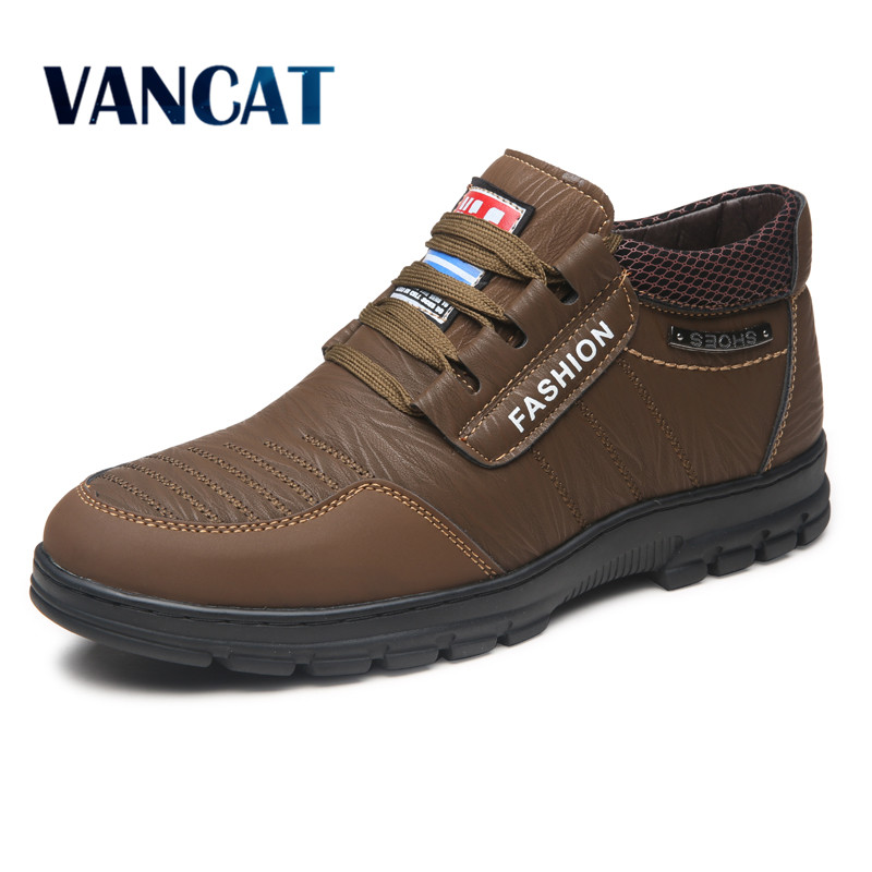 VANCAT Winter Men Fashion Leather Boots Casual Men Leather ...
