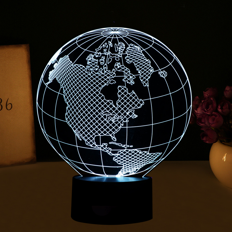 3D visual effect America map shape globe shape LED night light for decoration ball atmosphere DIY