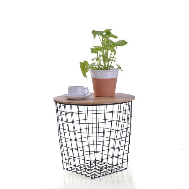Fio de ferro de metal mesa de chá em madeira com tampo de local de armazenamento mesa de chá de ferro cesta de armazenamento de mesa multifuncional net
