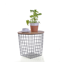 Metal Iron Wire Storage Tea Table With Wood Top Spot Iron Tea Basket Table Multifunction Net