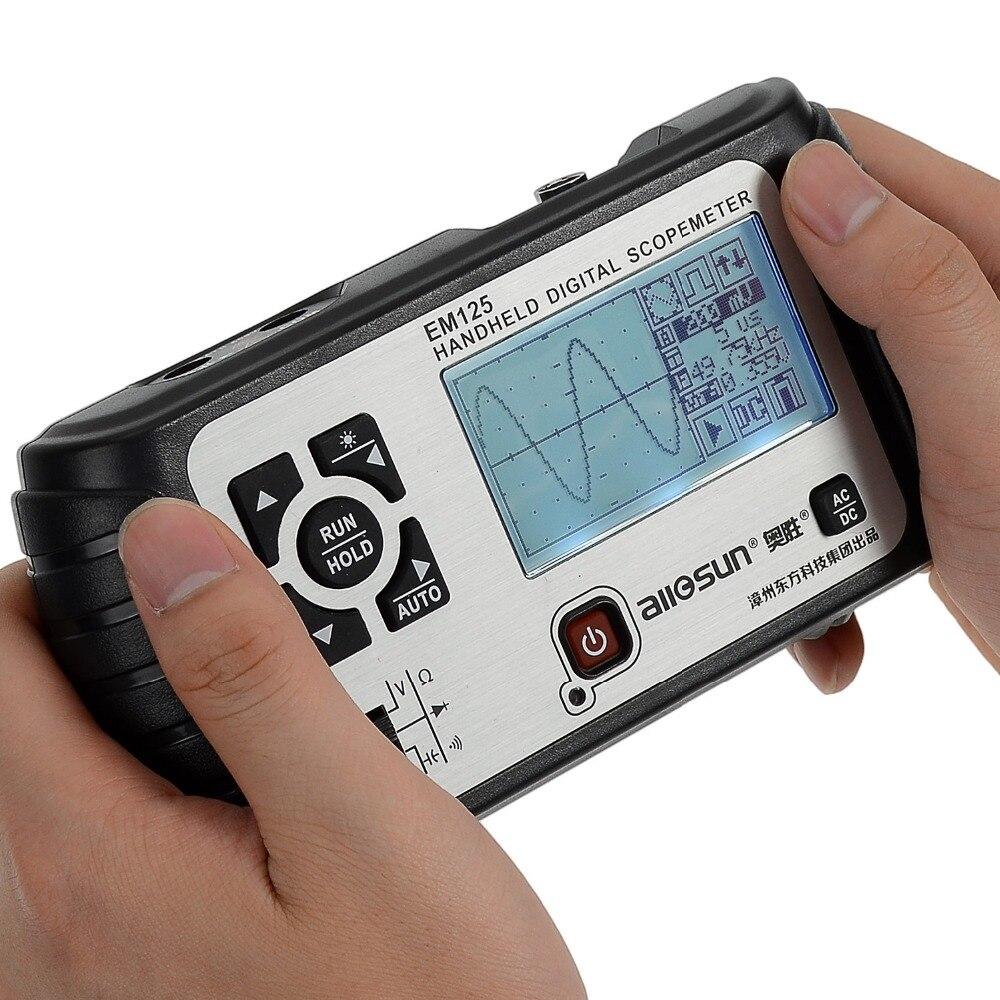 All-sun 25MHz 100MSa/s Digital 2in1 Handheld Portable Oscilloscope+Multimeter Single Channel Waveform USB LCD Backlight EM125