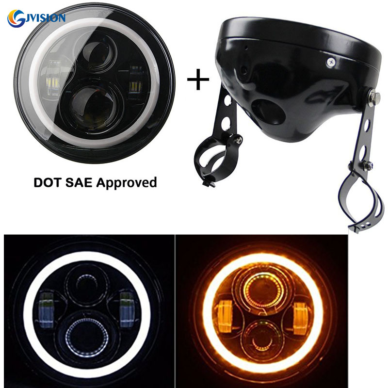 7 Inch headlights Housing bucket with 7 inch LED Projector headlight White DRL Amber signal light for Harley Davidson motorcycle