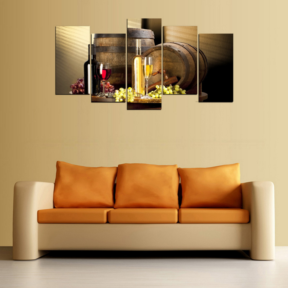 5 Panels Canvas Print Champagne And Wine Painting for Living Room ...