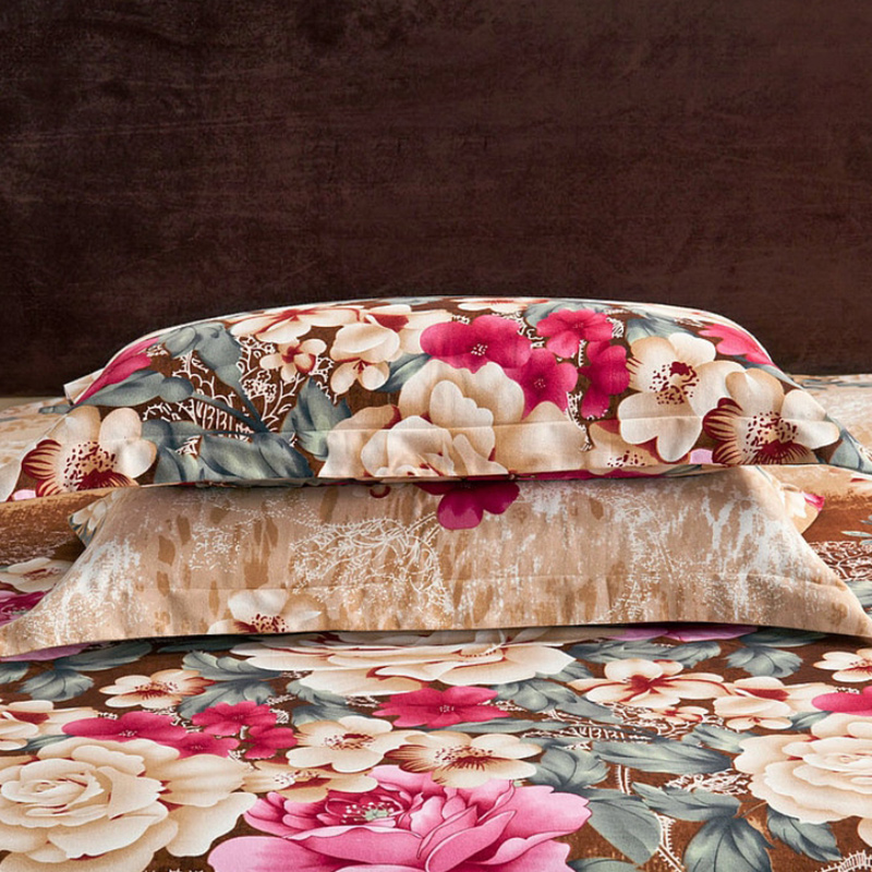 Image 4 - Brown Purple 100%Cotton kids adults Bedding Set twin full queen  king size Floral print Duvet cover soft Bed sheet set Pillowcasesheet  setking sizebedding set