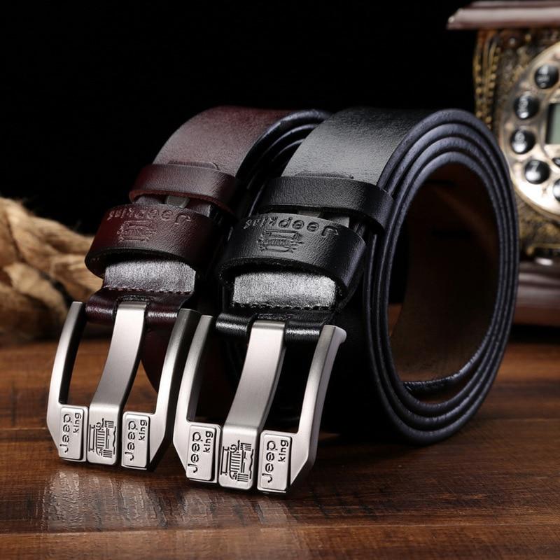 New men genuine leather luxury strap male   belts   for men buckle fancy vintage jeans cintos masculinos ceinture homme