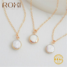 ROXI Round Pearl Necklace for Women Real Natural Freshwater Pendant Fashion Statement Wedding Jewelry