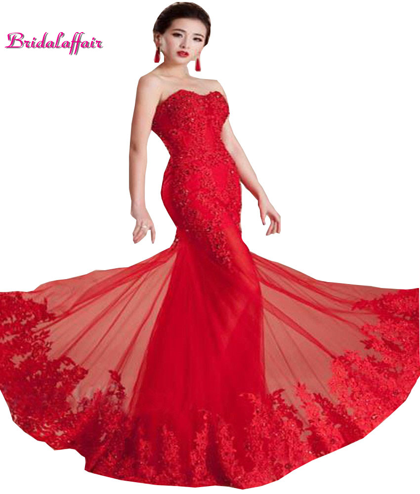 us $136.04 24% off|new elegant red mermaid lace wedding dresses 2018  sweetheart appliques beading bridal gowns tulle court train vestido de  noiva-in