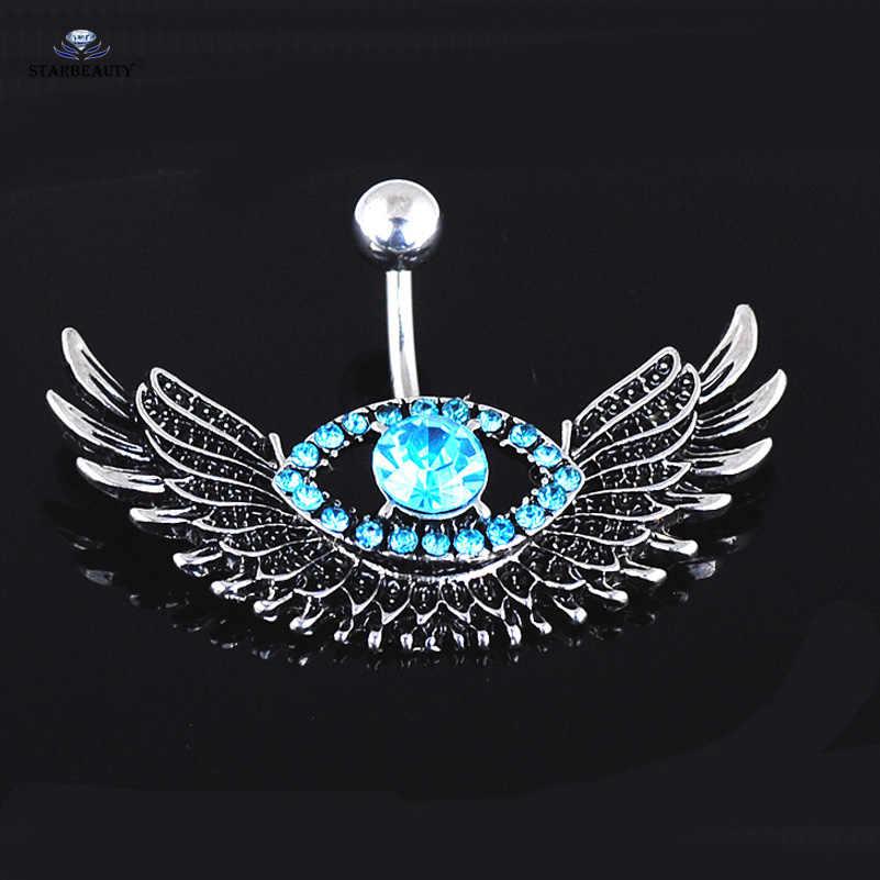 Starbeauty пирсинг пупка с крыльями, 1 шт., Колечки для пупка с ярко-синим драгоценным камнем, Пирсинг живота, Ombligo, ювелирные изделия для тела