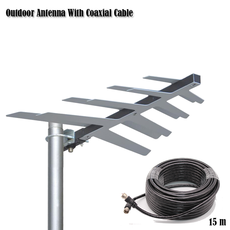 Outdoor Antenna With Coaxial Cable For DVBT2 HDTV ISDBT ATSC High Gain Strong Signal Outdoor TV Antenna цены онлайн