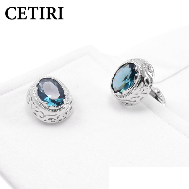 CETIRI Fashion Red & Blue Zirconia Cufflinks For Mens With Gift Box Retro Crystal Hollow Pattern Cuff Link Jewelry Design