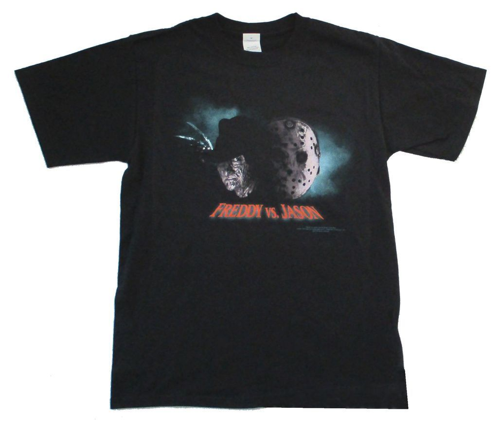 Freddy vs Jason Close Up Black T Shirt New Movie Friday 13th Nightmare on Elm St
