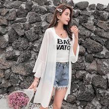 Women Casual Solid Cardigan Ladies 2019 Summer Fashion Flare Long Sleeve Chiffon Blouse Female Loose Blouse Tops White цена