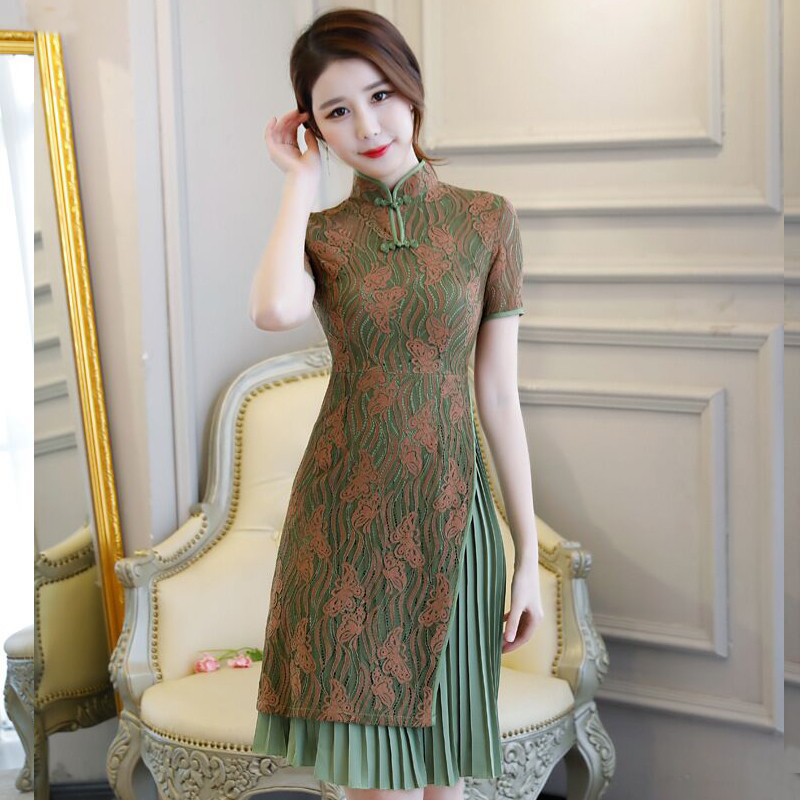 Short Style Women s Mini Cheongsam Summer Chinese Lace Slim Qipao Dress New Arrival Vestidos Size