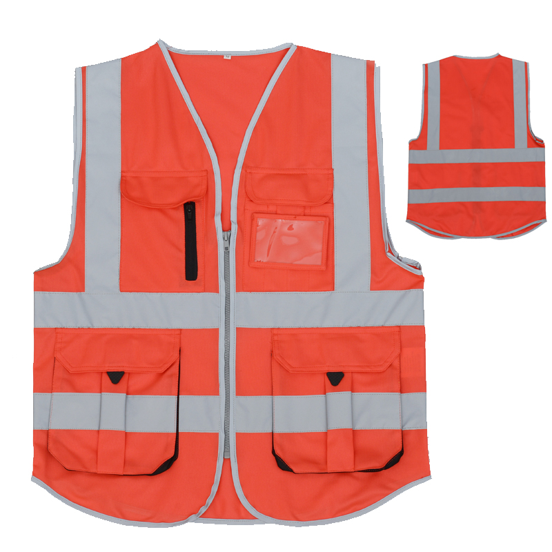 Red mens vest reflective safety waistcoat for womens construction transportation warehouse worker