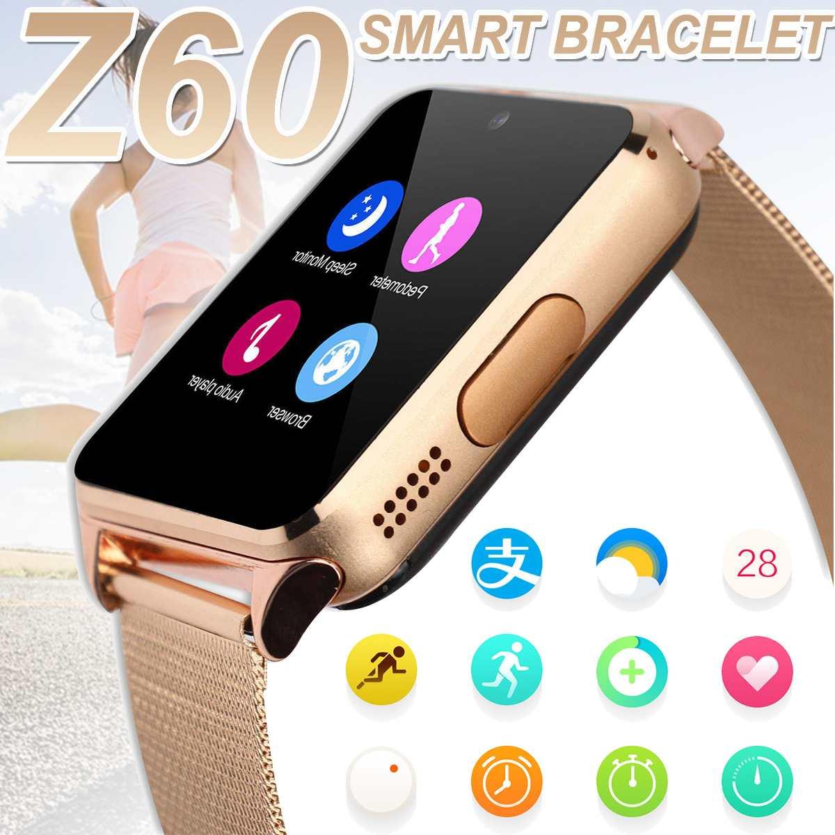 Do bluetooth Relógios Inteligentes Z60 430mA Smartwatch Wrist Strap Metal Suporte 2G SIM Cartão TF Android IOS Relógio Mensagem Push relógio do telefone
