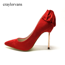 Pumps Woman Wedding Pumps Suede Shoes Women's Thin Heel 2017 ladies shoes Pointed Toe Bridal High Heels