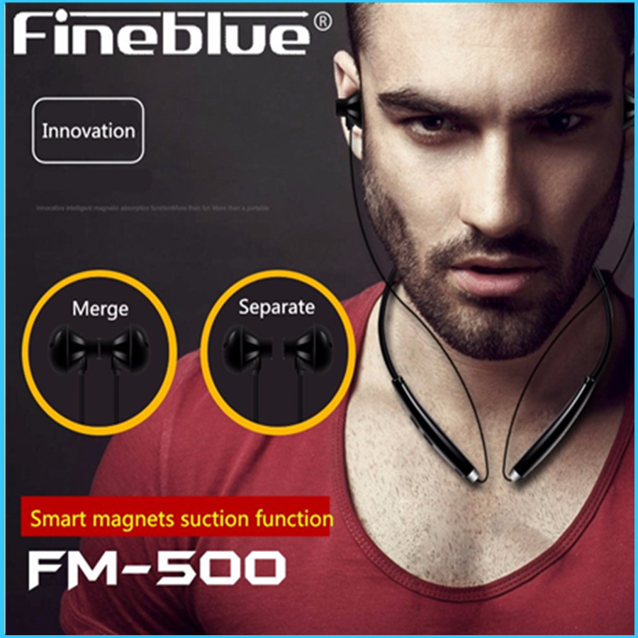 FineBlue FM-500 Wireless Bluetooth Headset V4.1 Magnetic Headphone Sport Running Handsfree Standby Time 100 hours For all phone
