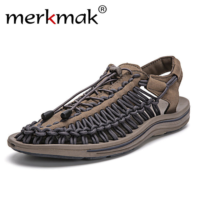 edecedbd524c0e Merkmak New 2018 Summer Men Sandals Fashion Handmade Weaving Design  Breathable Casual Beach Shoes Unique Brand