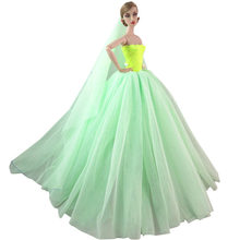 NK Doll Dress High quality Handmade Long Tail Evening Gown Clothes Lace  Wedding Dress +Veil For Barbie 1 6 Doll Best Gift 039A c7b6bf759f7e