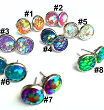 8mm Stainless Steel Shimmery Resin Mermaid Fish /Dragon Scale Stud Earrings For Women 8 Colors 40pair/lot