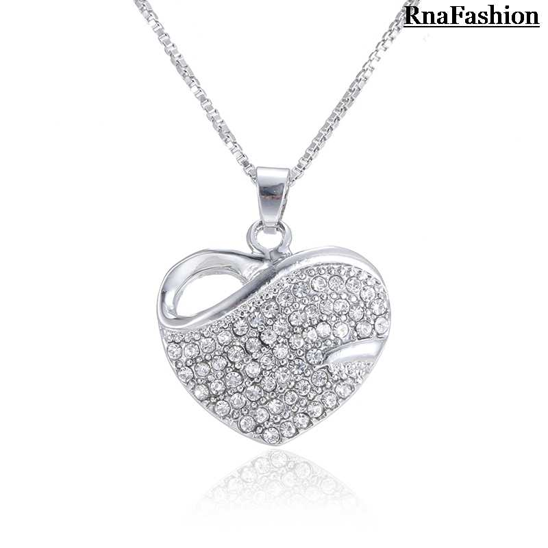 RNAFASHION תכשיטי לב צורת שרשראות & תליוני לב צורת Stud עגיל מלא של ריינסטון נשים כלות