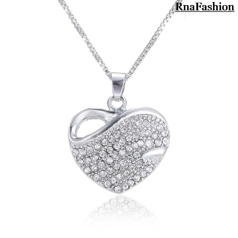 RNAFASHION biżuteria kształt serca naszyjniki kształt serca stadniny kolczyki pełne Rhinestone zestawy biżuterii dla kobiet Brides