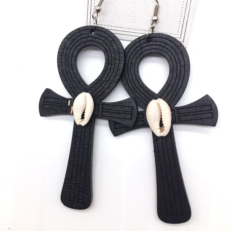 Ankh Wooden Earrings