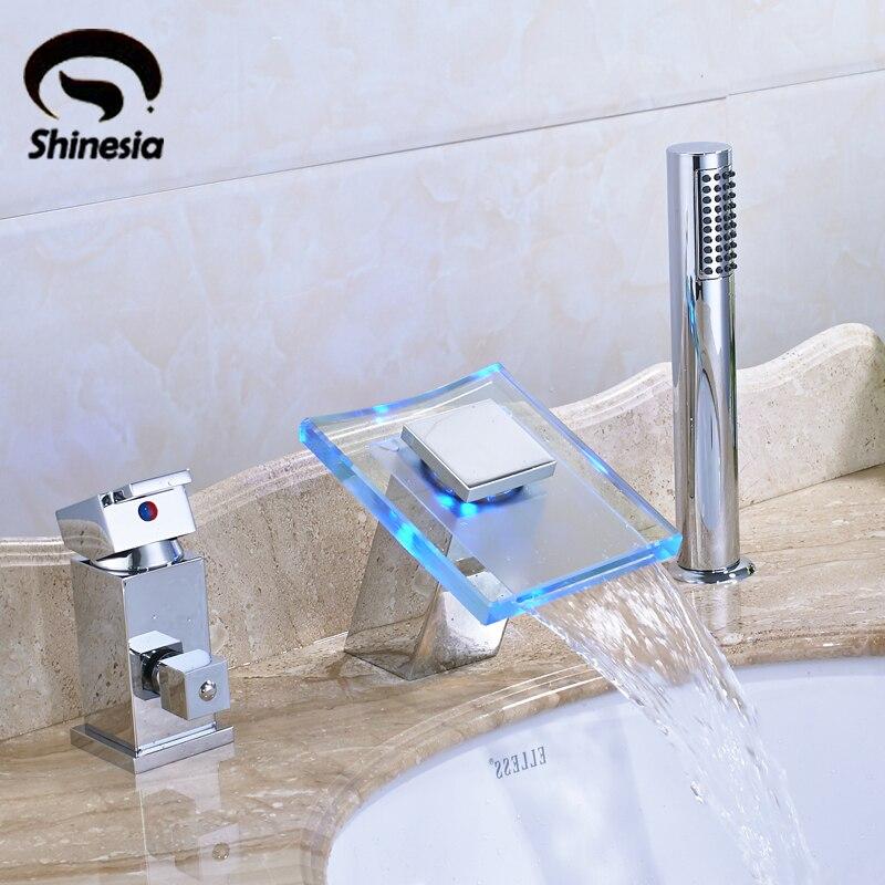 Chrome Polished LED Light Bathtub 3PCS Faucet Single Handle wirh Handheld Shower Deck Mounted