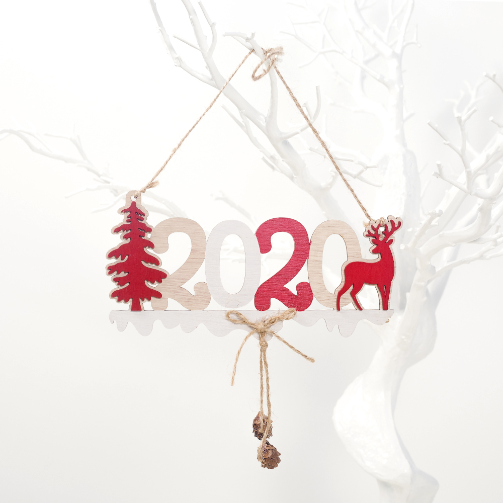 Cute Cartoon Smile Elk Wooden Ornament Christmas Tree Decoration Hanging Pendant Xmas Party Decor for Home Kids Gift Animal 2020 50