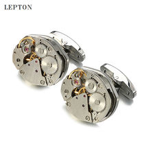 Hot Watch Movement Cufflinks for immovable Can't Move Stainless Steel Steampunk Gear Watch Mechanism Cuff links for Mens gemelos